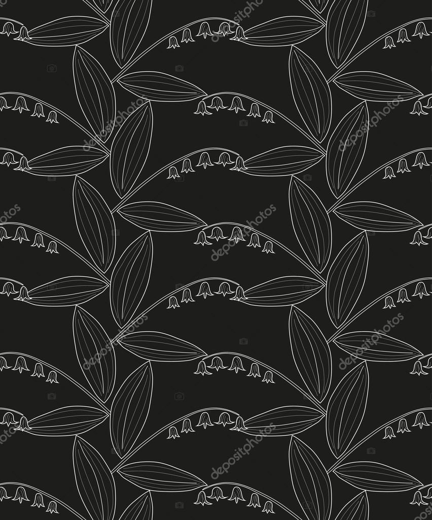 Seamless black and white pattern with lilies of the valley on a black background. Vector eps 10.