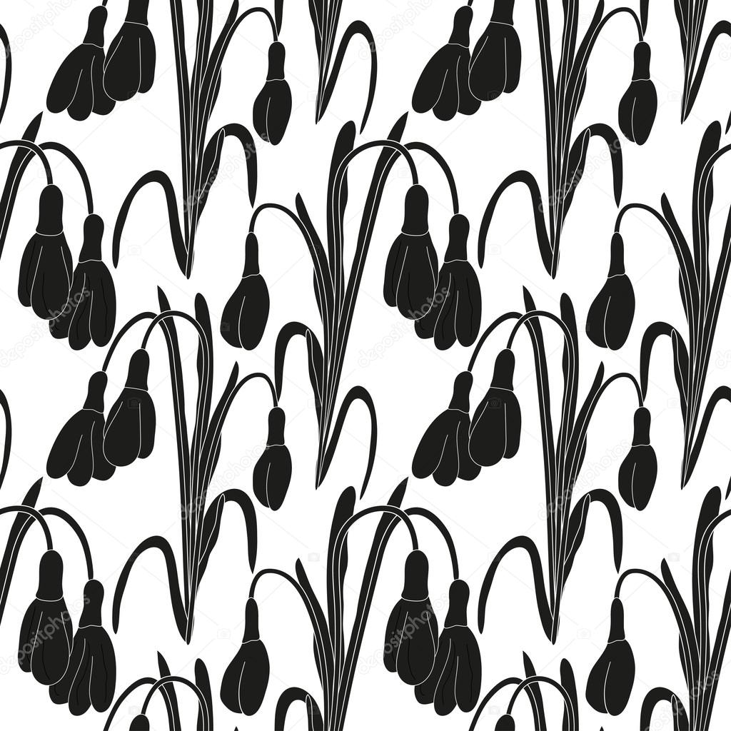 Seamless black and white pattern with silhouettes of snowdrops on a white background. Vector eps 10.
