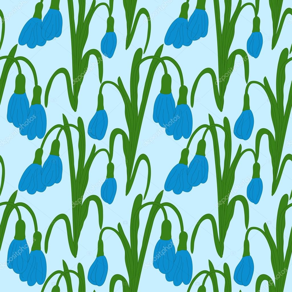 Seamless colored pattern with dark blue snowdrops on a blue background. Vector eps 10.