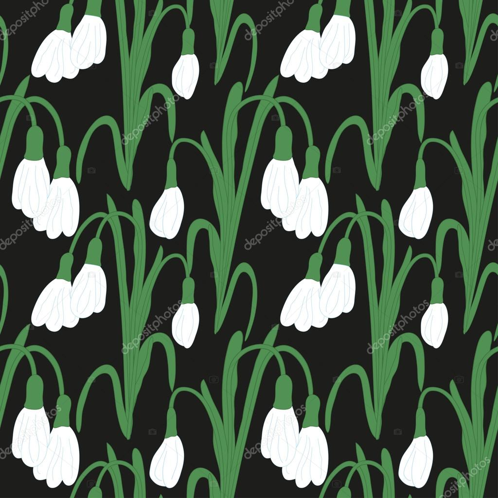 Seamless colored pattern with white snowdrops on a black background. Vector eps 10.