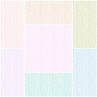 Set of abstract seamless patterns of wavy lines in pastel tones . Vector eps 10.