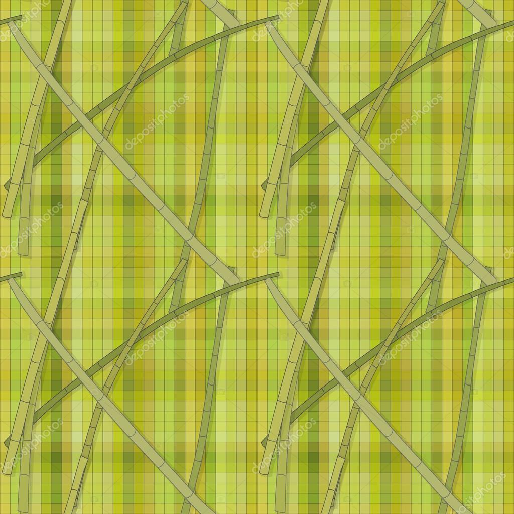 Seamless pattern with bamboo branches on a background of green cells of different shades. Vector eps 10.