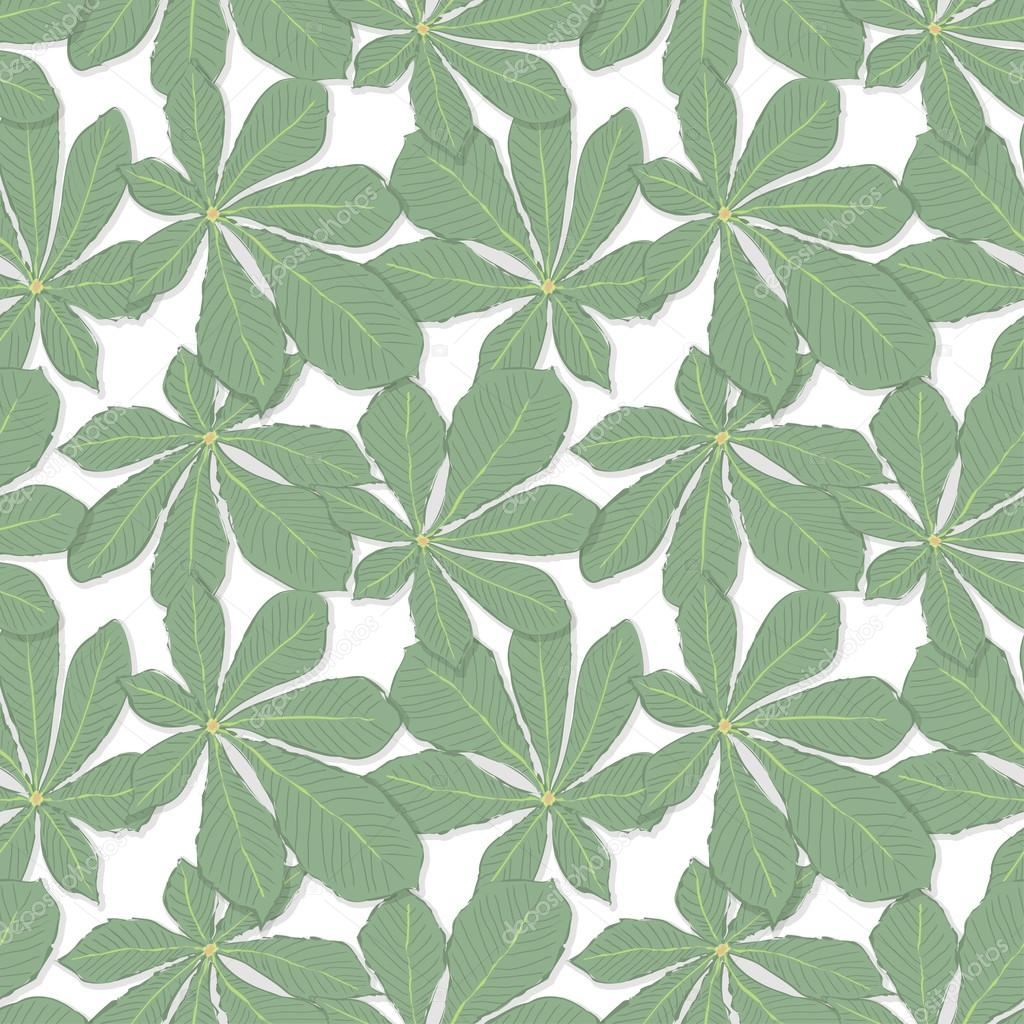 Seamless pattern of green chestnut leaves on a white background. Vector eps 10.
