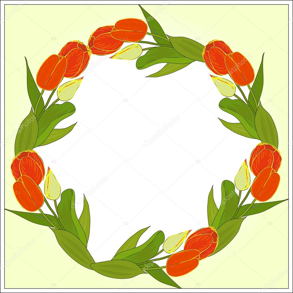 Vector frame of tulips with place for your text or photo on a citron background. Eps 10.