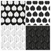 Vektorové sada černé a bílé bezešvé vzory s listy linden. EPS 10