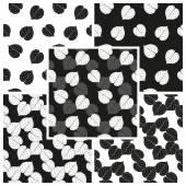 Vektorové sada černé a bílé bezešvé vzory s padající listí linden. EPS 10