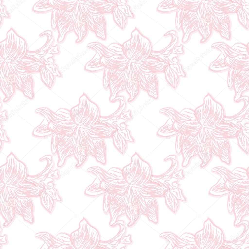 Seamless floral pattern of pale pink lilies on a white background. Vector eps 10.