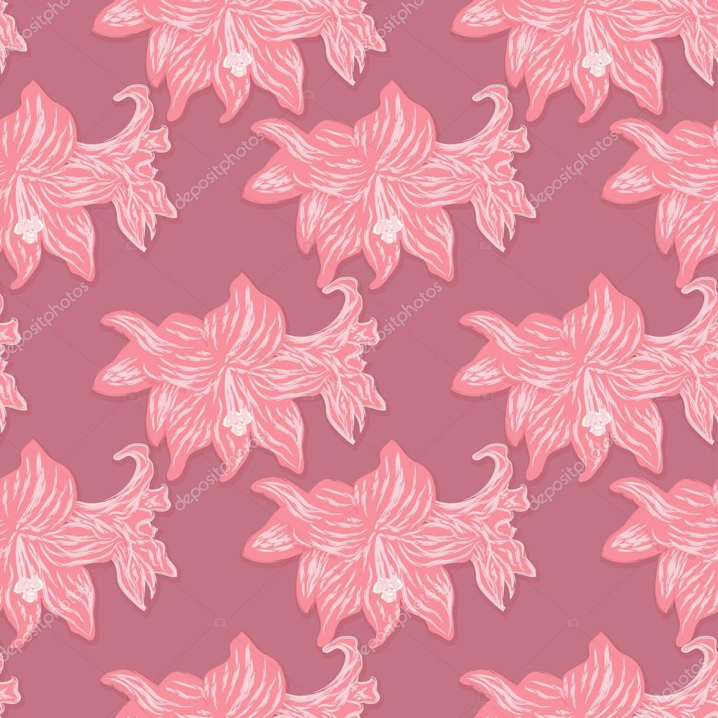 Bright seamless floral pattern of red lilies on a dark pink background. Vector eps 10.