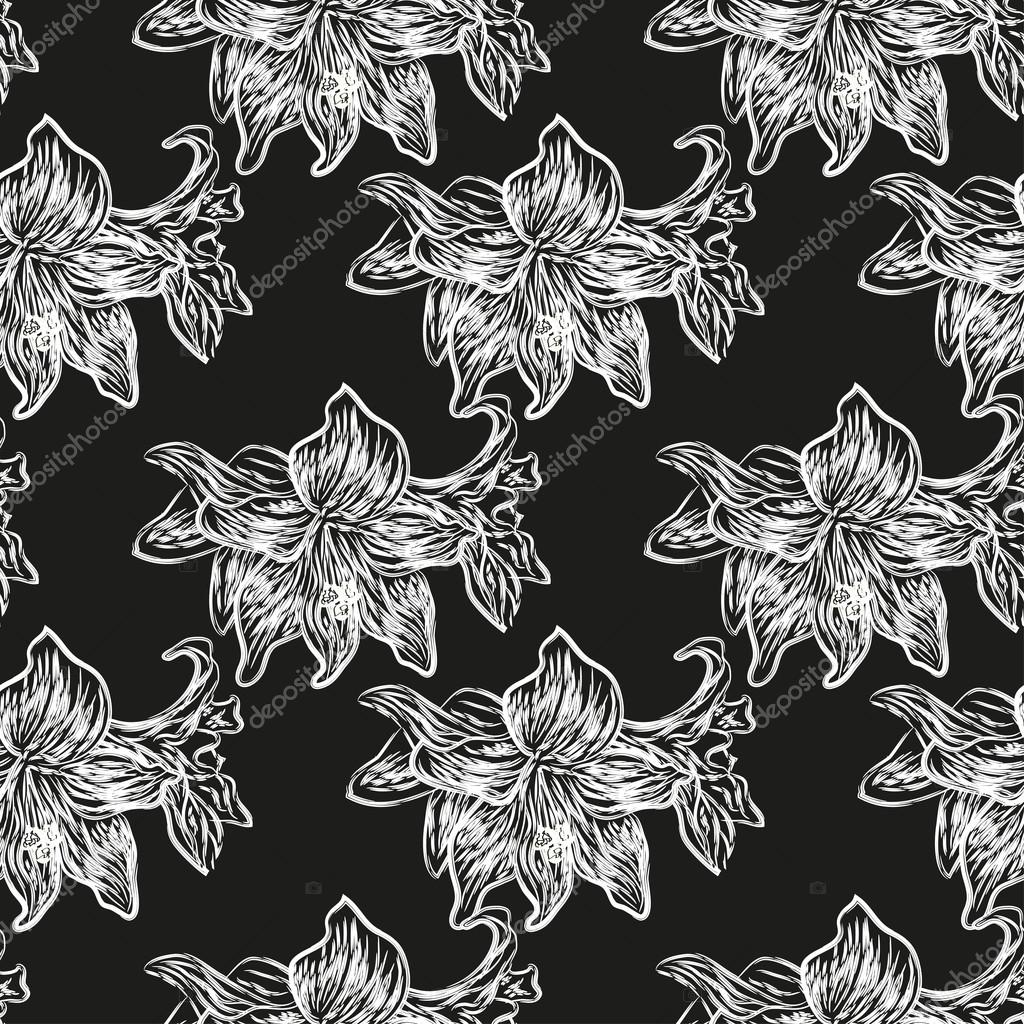 Contrast black and white seamless pattern of lilies on a black background. Vector eps 10.