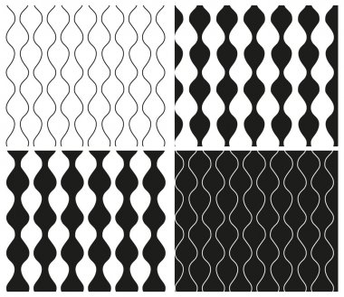 Set of abstract seamless black and white patterns with wavy lines and wavy stripes. Vector eps 10.