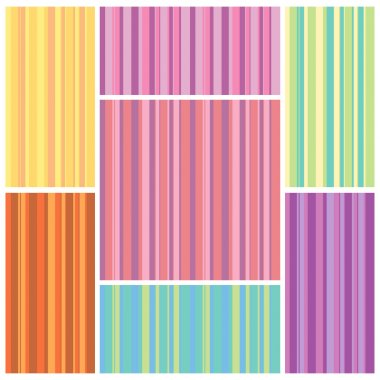 Set of colorful seamless textures from vertical strips of different widths. Vector eps 10.