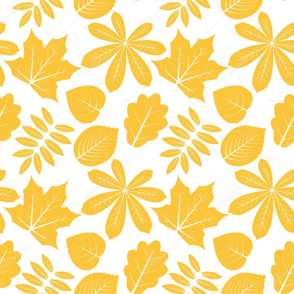 Vector seamless pattern with autumn outline leaves of different trees on a white background. Eps 10.