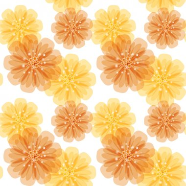 Vector seamless pattern with orange and yellow abstract flowers on a white background. Eps 10.