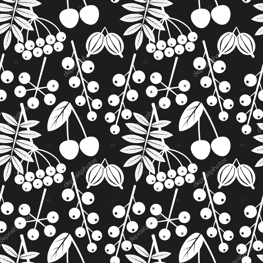 Vector black and white seamless pattern with outline of different berries on a black background. Eps 10.