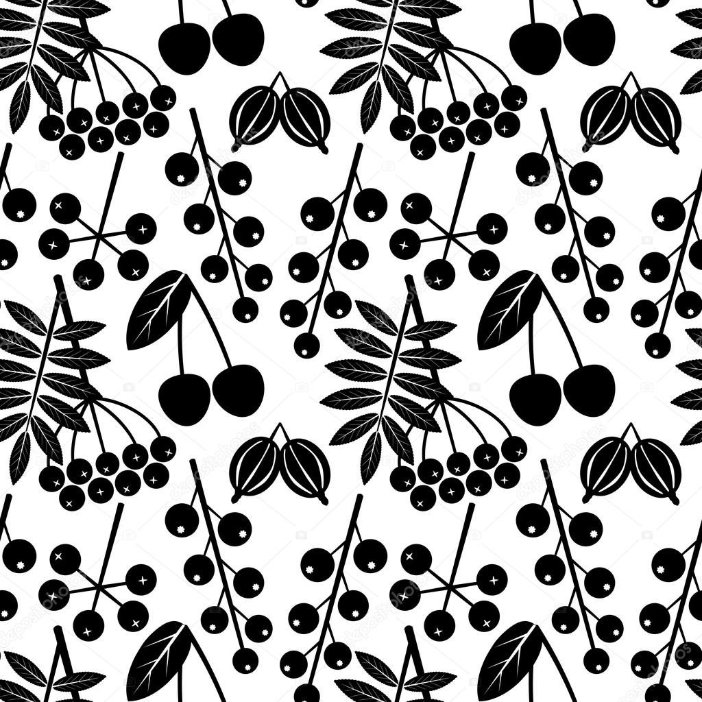 Vector black and white seamless pattern with outline of different berries on a white background. Eps 10.
