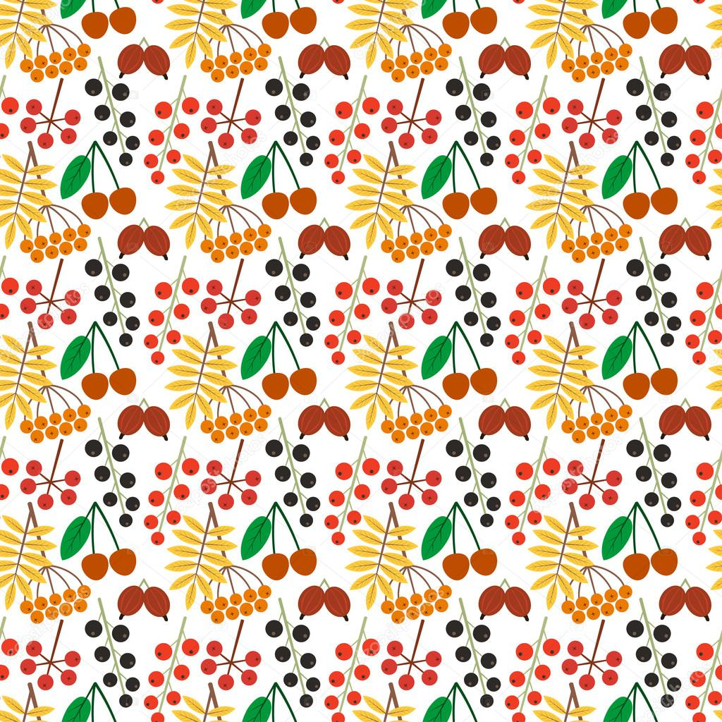 Vector bright seamless pattern with different berries on a white background. Eps 10.