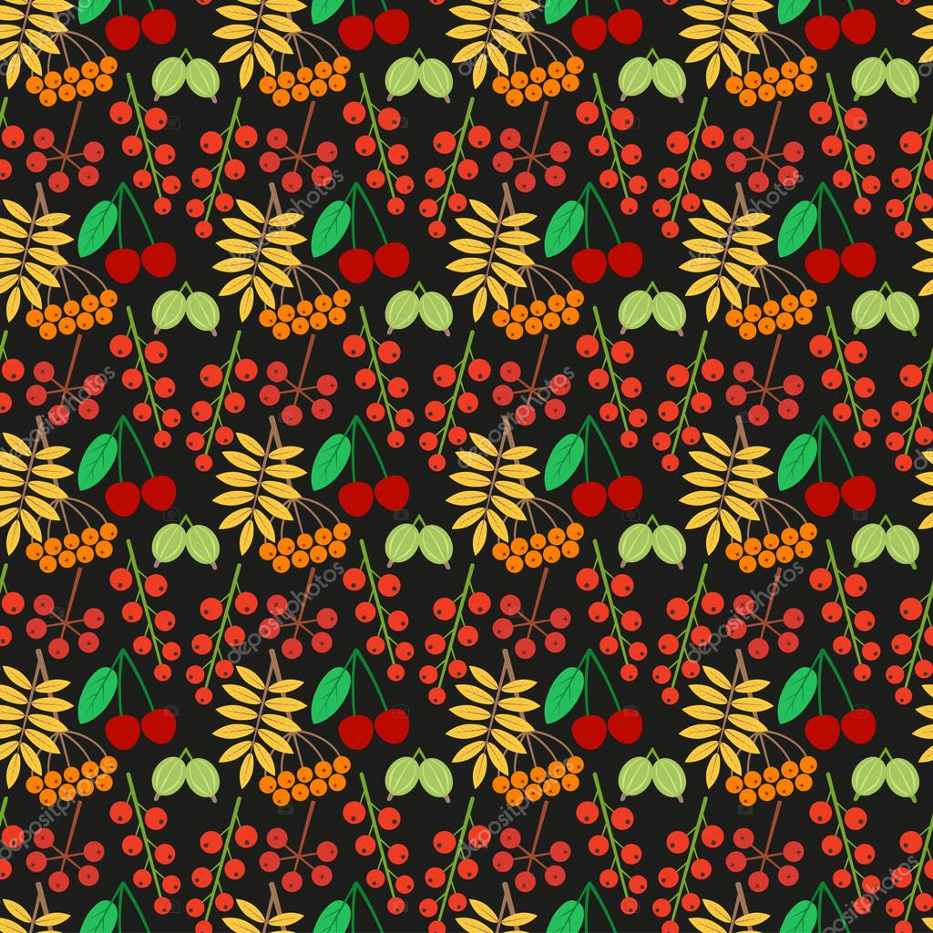 Vector bright seamless pattern with different berries on a black background. Eps 10.