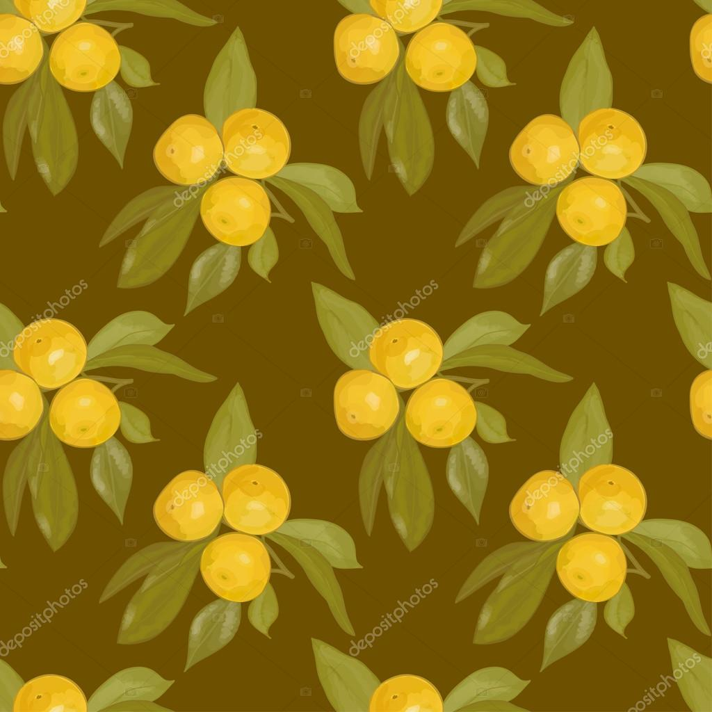 Seamless blurred pattern of the branches with mandarins on a dark brown background. Eps 10.