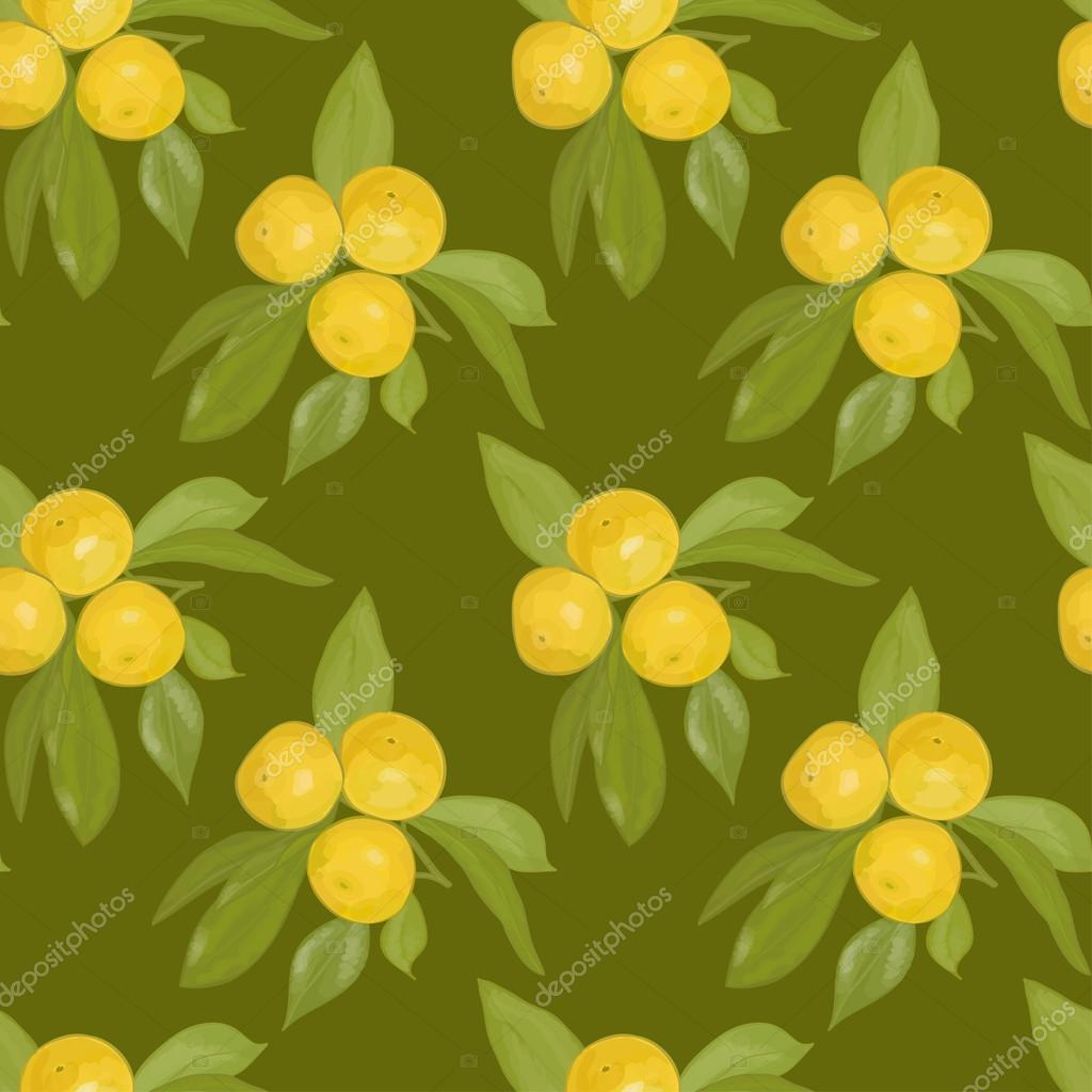 Seamless blurred pattern of the branches with mandarins on a dark green background. Eps 10.