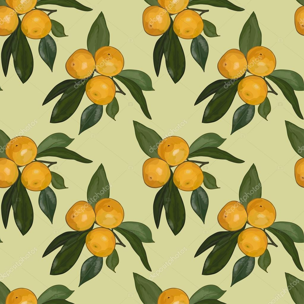Seamless pattern of the branches with mandarins on a light green background. Eps 10.
