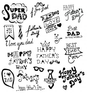 Happy Father's Day hand drawn typography, Doodles vector illustration