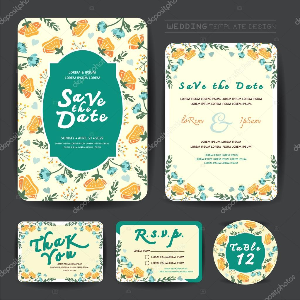 Wedding floral template collection.Wedding invitation