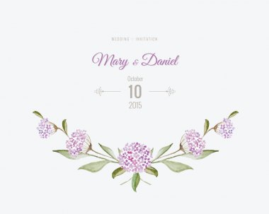 Wedding invitation watercolor. Save The Date card with flowers a