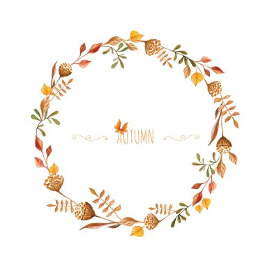 Watercolor autumn frame. Wreath made of hand drawn  autumn leave