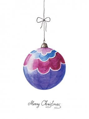 Watercolor Christmas ball with a handwritten greeting with Chris