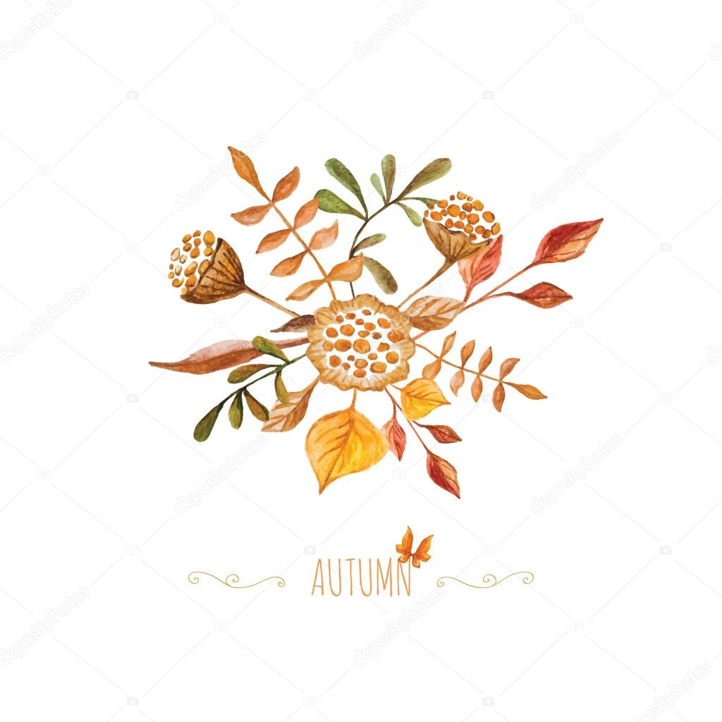 Watercolor autumn bouquet with decorative swirls elements beaut watercolor autumn bouquet with decorative swirls elements beaut stock vector stopboris Images