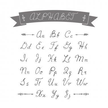 Alphabet calligraphy hand-drawn on white background. Uppercase a