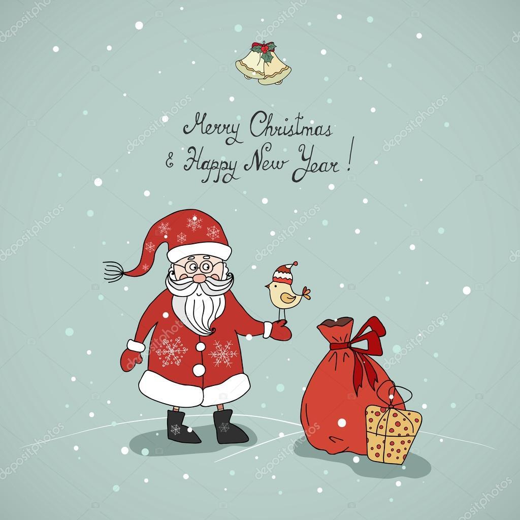 鳥とギフトのサンタ クロース描き下ろしかわいいクリスマス カード