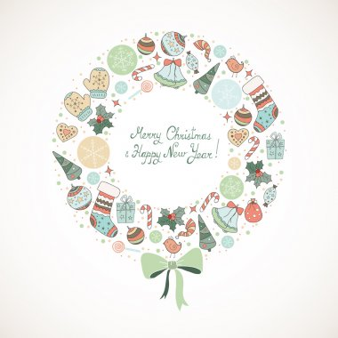 Christmas wreath with Christmas elements