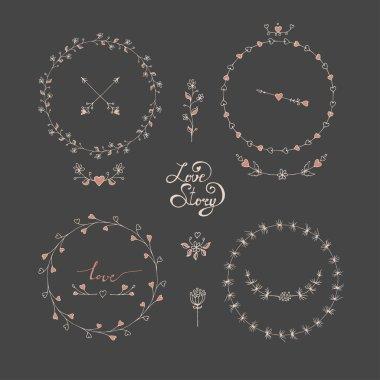 Cute frames hand drawn. Romantic floral design elements