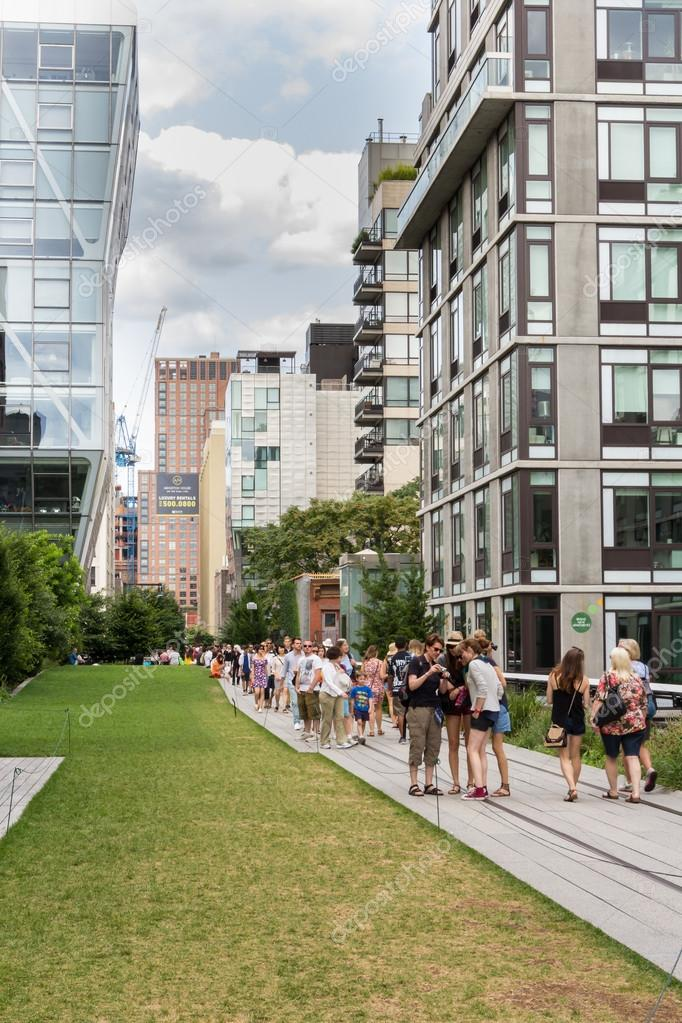 NEW YORK CITY - JULY 29,2014: People walking in High Line Park in New York