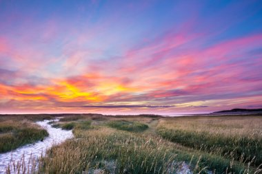 Sunset at nature park the Slufter on the wadden island Texel in