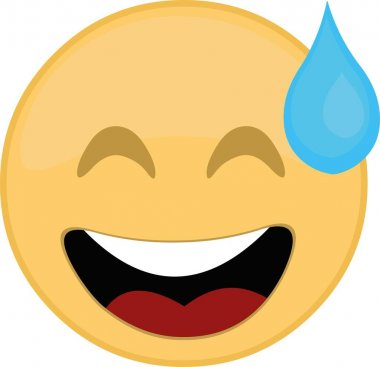 Vector illustration of emoji with a drop of sweat icon