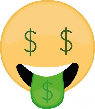 Vector illustration of emoticon with a dollar expression