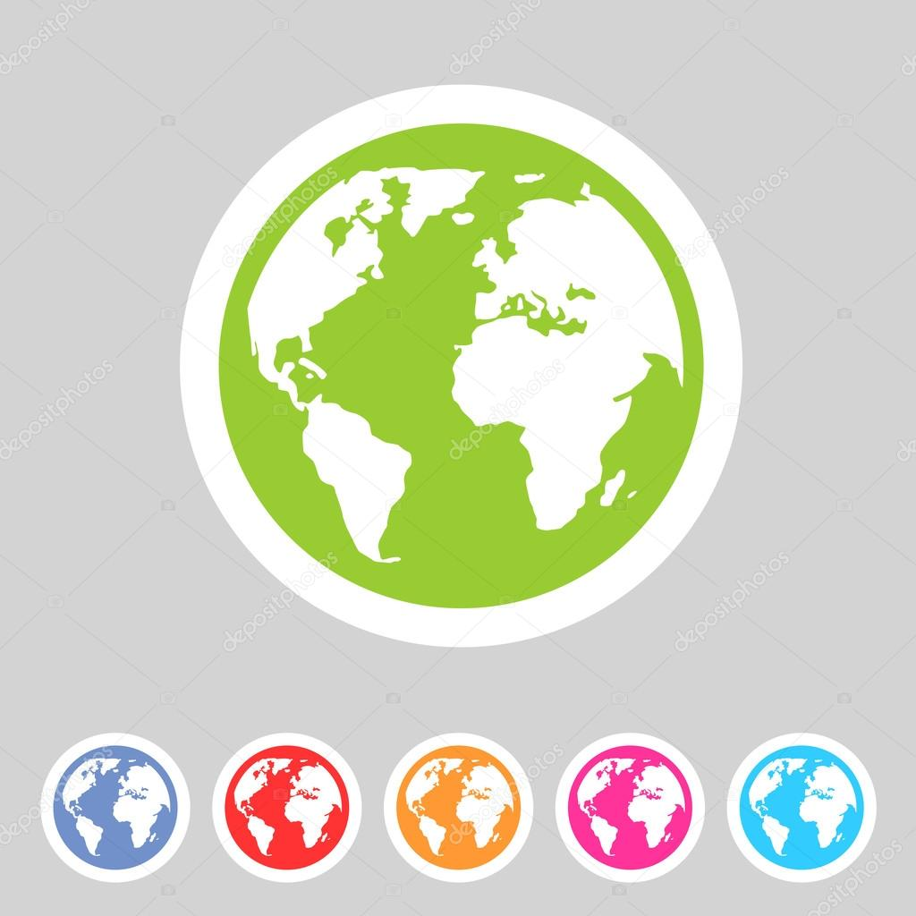 Globe earth icons set flat stock vector. Illustration of ...   Earth Flat Icon Eps