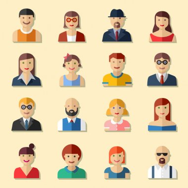 Flat round avatar icons, faces, people icons