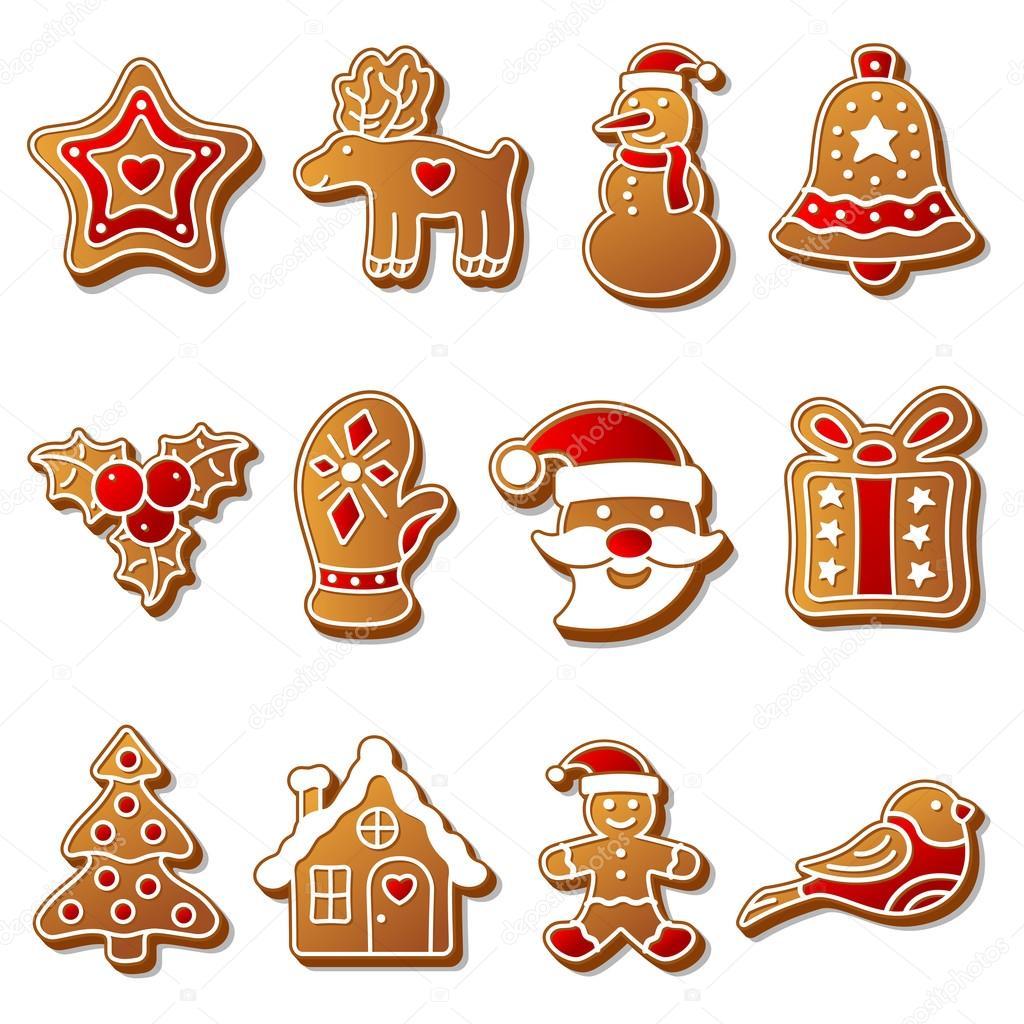 Weihnachtsgebäck Clipart.Gingerbread Christmas Cookies Set Stock Vector Game Gfx 55525635