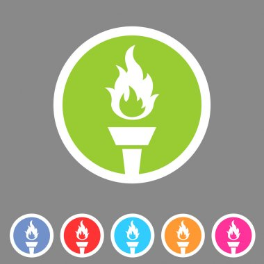 Torch flame fire icon flat web sign symbol logo label