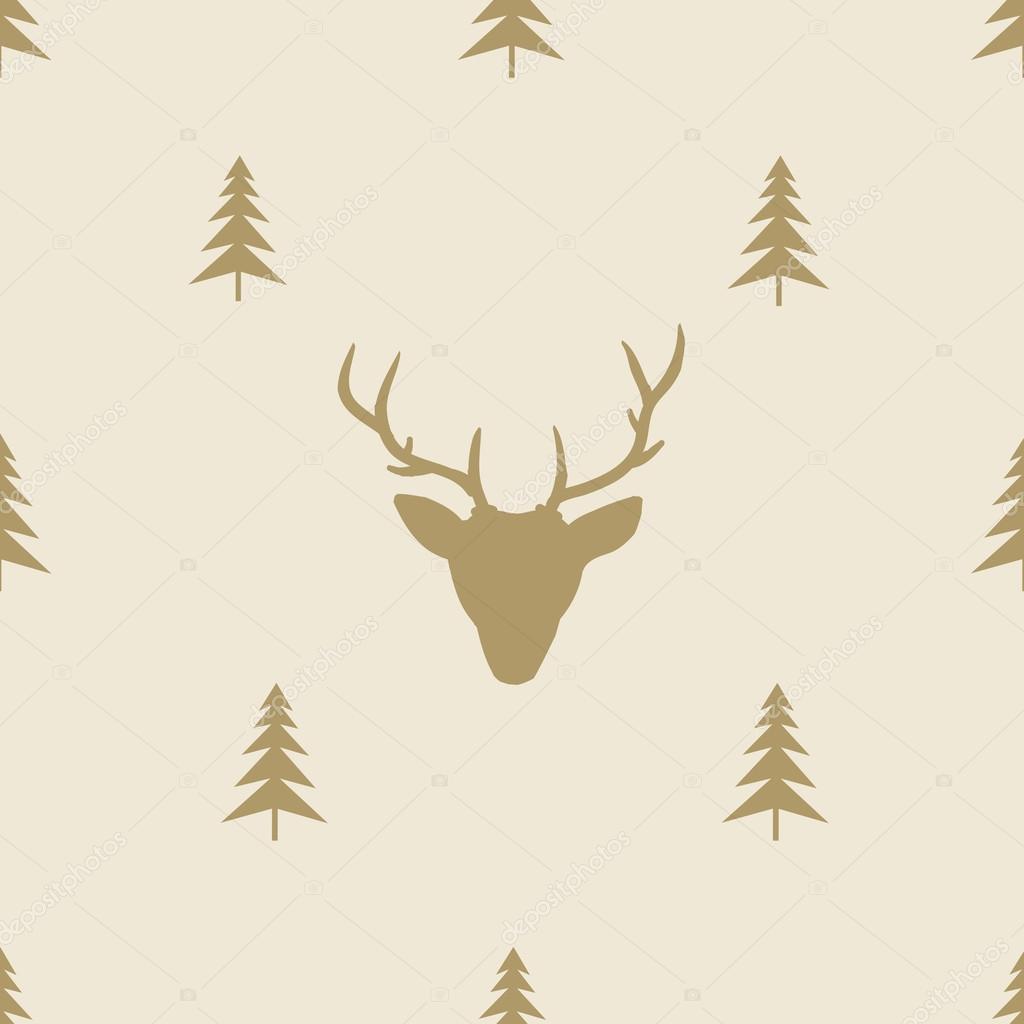 Navidad Reno línea inconsútil azulejo de fondo — Vector de stock ...
