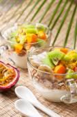 Snídaně s müsli, jogurt, tropické ovoce
