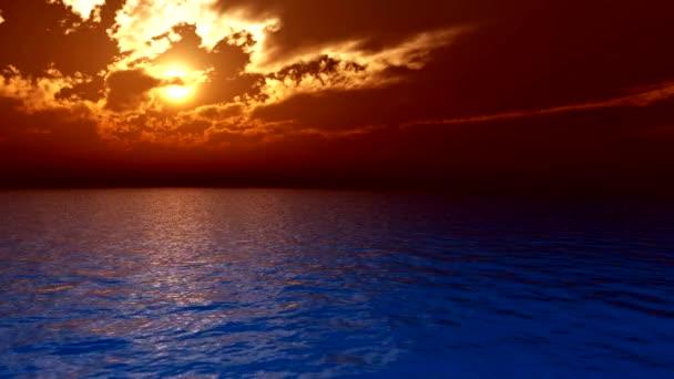 Oceán západu slunce a mraky - Uhd