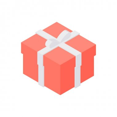 Simple 3d isometric vector illustration of red cardboard gift box decorated with white ribbon for holiday celebration concept isolated on white background icon