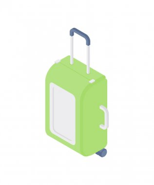 3d isometric vector illustration of bright green luggage bag with handles and wheels for travel and tourism concept isolated on white background icon