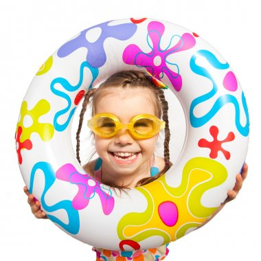 Happy kids look out of inflatable ring. Isolated on white background. Vacation, summer, sea concept stock vector