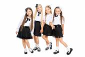 Photo Group of smiling schoolgirls, isolated on white background