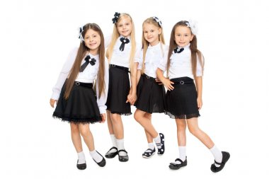 Group of smiling schoolgirls, isolated on white background